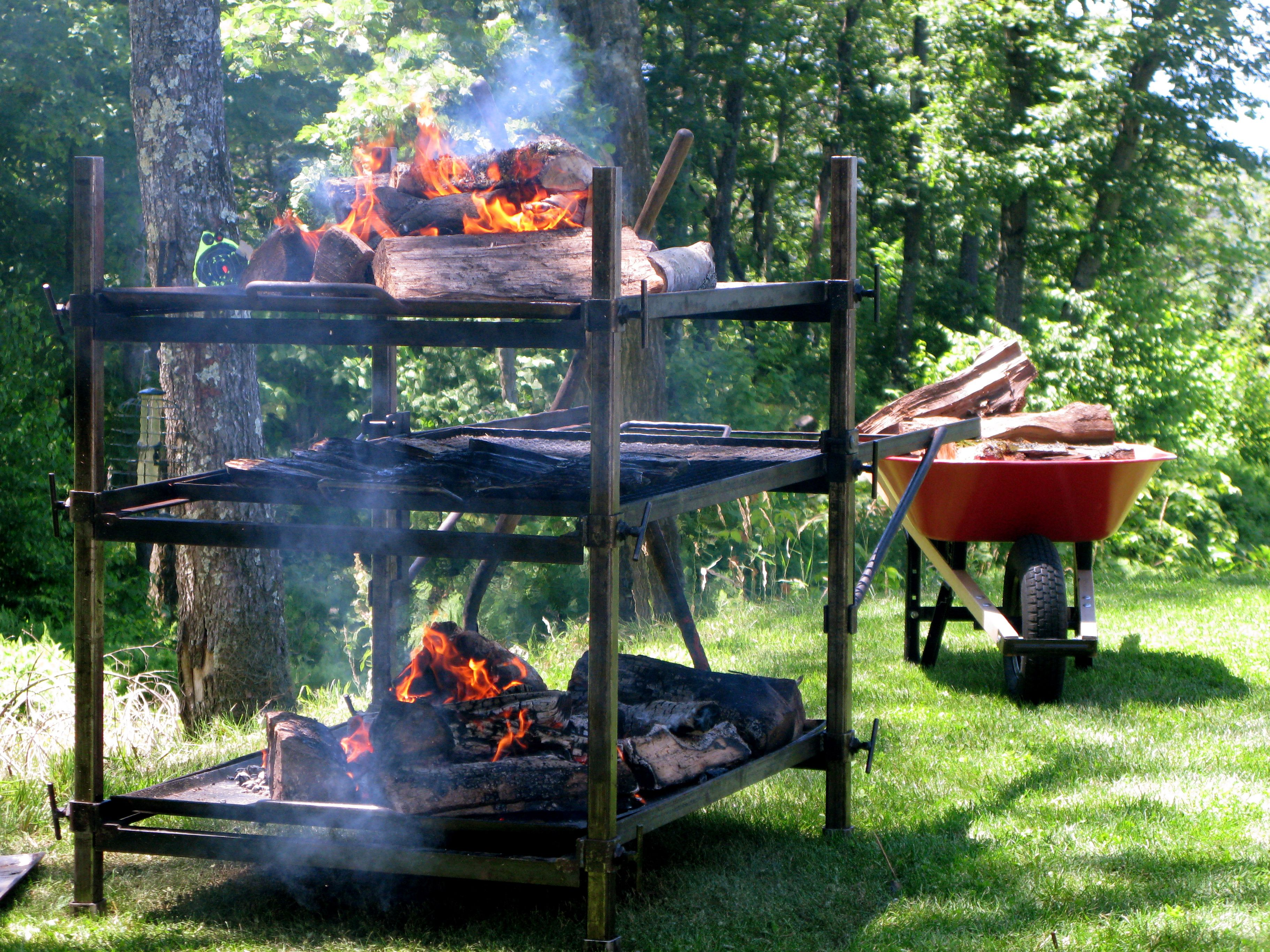 Threetiered grill/smoker Fire pit cooking, Open fire