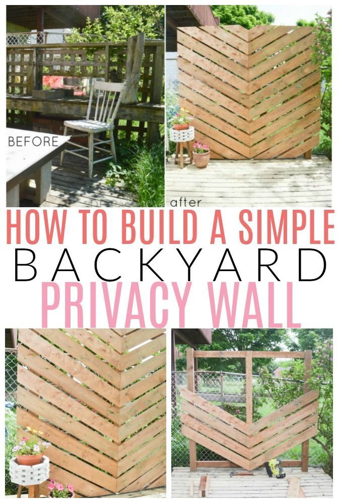 How to Build a Simple Chevron Outdoor Privacy Wall #backyardmakeover