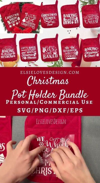 Christmas Pot Holder SVG Bundle | Potholder svg |