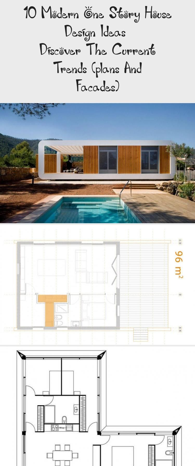 10 Modern One Story House Design Ideas – Discover The Current Trends (plans  And Facades in 2020 | Modern house facades, Facade house, Modern house plans