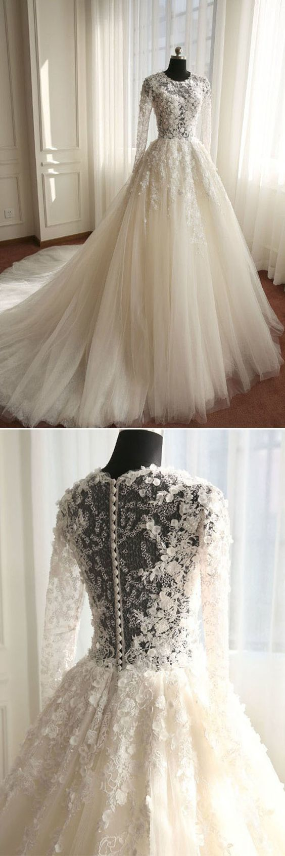 Ivory Tulle Chaple Train Wedding Dress with Long Sleeves