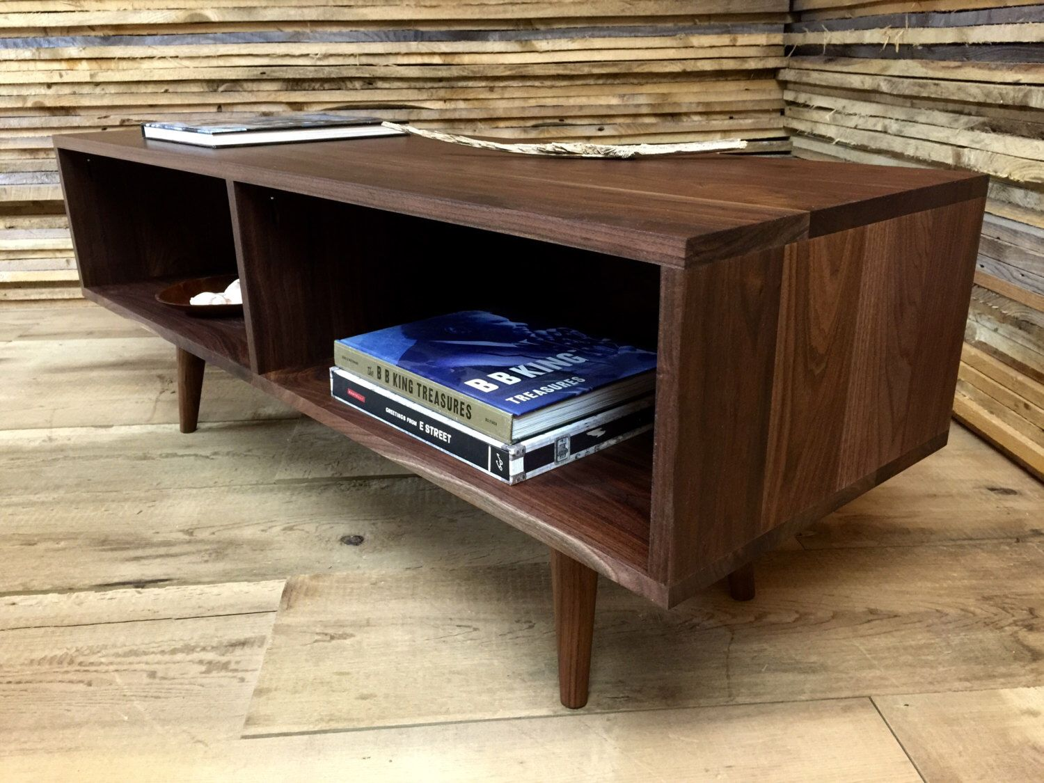Cameron mid century modern coffee table with storage featuring