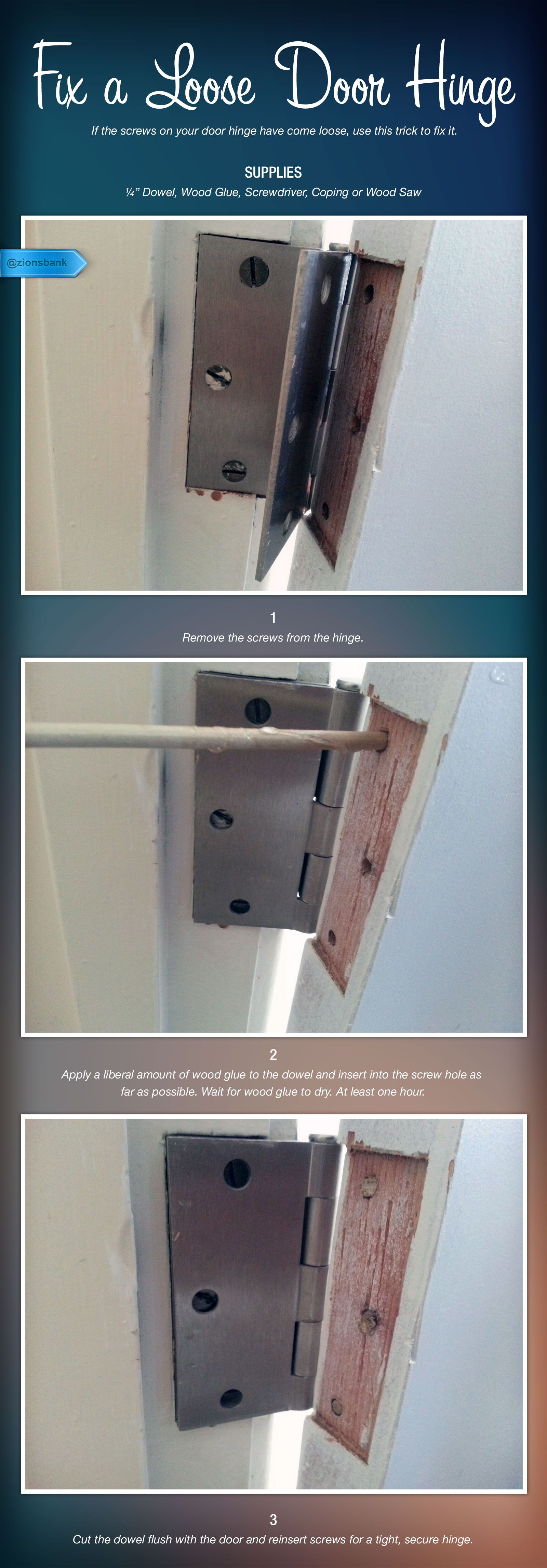 Door Hinge If The Screws In A Door Hinge Have Come Loose This Is The Way To Fix Them Keeping The Loose Screws In The Hi Door Hinges Door Hinge Repair