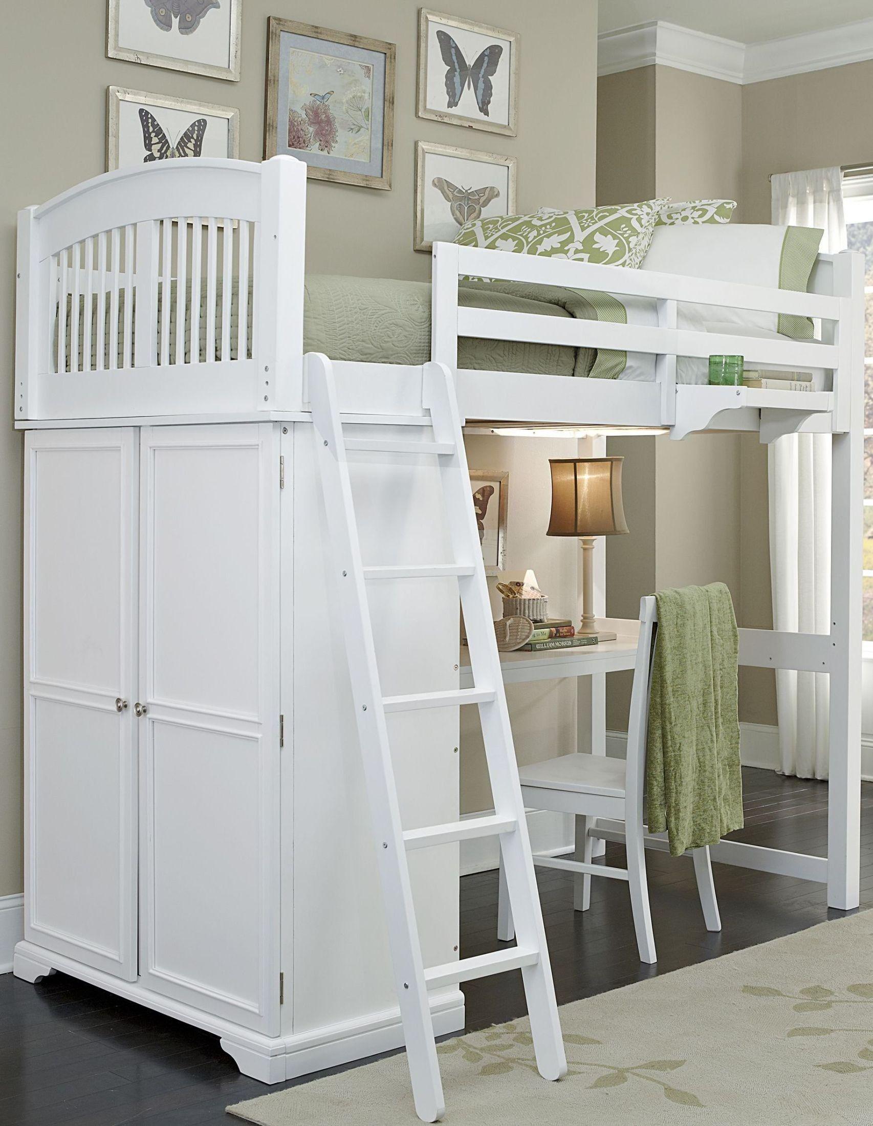 Javin loft bed with desk  Walnut Street White Locker Twin Loft Bed With Desk  raised bed