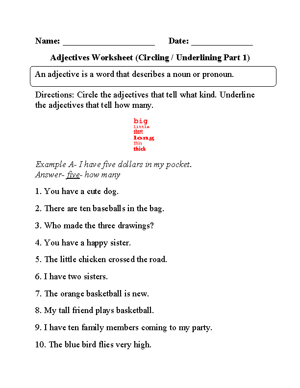 Circling and Underlining Adjectives Worksheet Part 1 Beginner ...