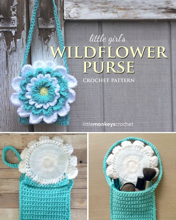 Little Girl\'s Wildflower Purse (Free Pattern) | Cestas, Tejido y ...