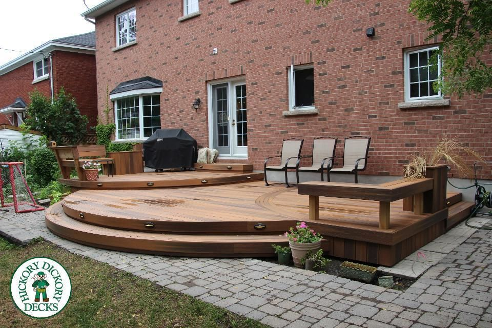 Curved deck stairs google search decks pinterest for Multi level patio designs