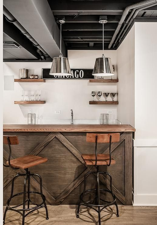 Industrial Styled Basement Bar Space With Oak Wood Bar Counter And