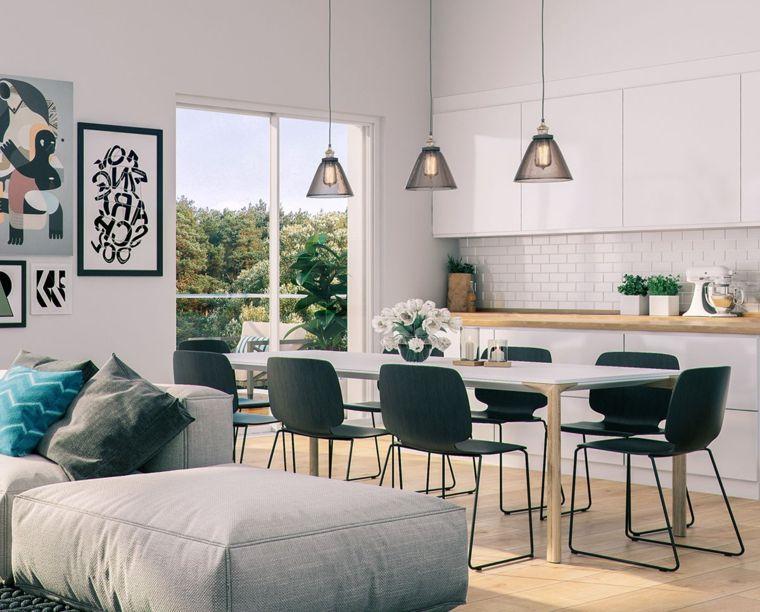 Moderna E Funzionale Open Space Cucina Soggiorno Con Piastrelle Bianche Come Parasc Design Della Sala Da Pranzo Tavolo Da Soggiorno Idee Arredamento Soggiorno