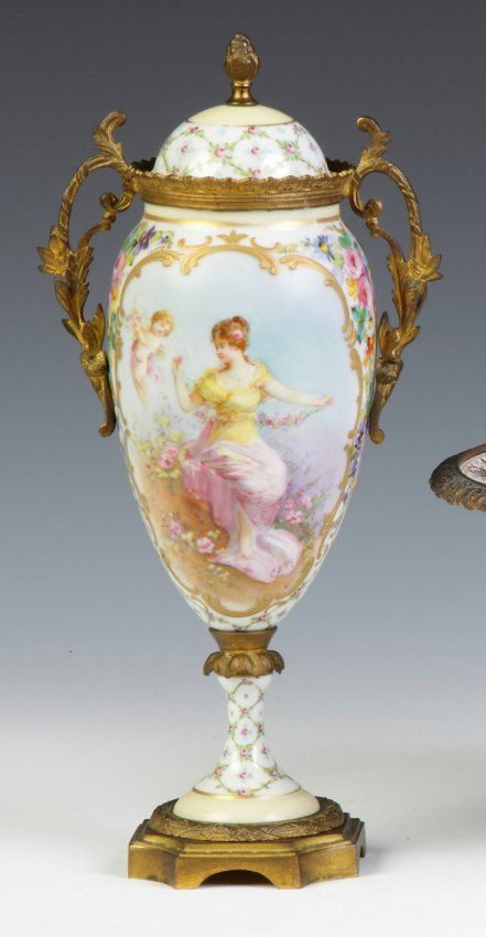 """Sevres Hand Painted And Decorated Urn With Brass Mounts - Artist Signed """"Carelle"""""""