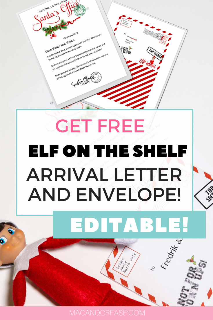 Get an Elf on the shelf arrival letter *free download