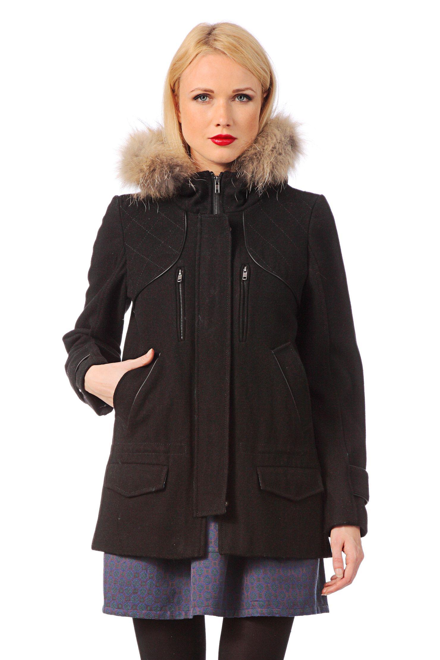 5e5c50dcb127 Manteau drap de laine et fourrure Alabama Noir 2two sur MonShowroom ...