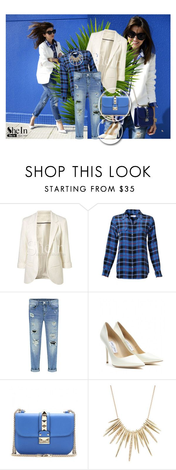"""Shein"" by nejra-e ❤ liked on Polyvore featuring Equipment, Jimmy Choo, Valentino and Alexis Bittar"