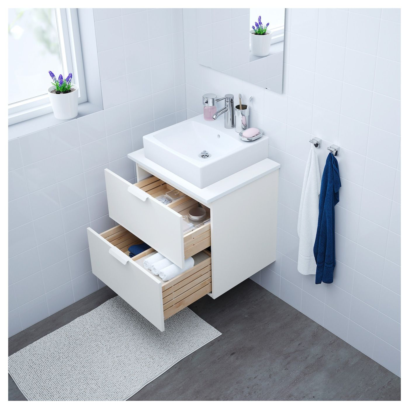 GODMORGON Armario lavabo 2 cajones blanco 60x47x58 cm