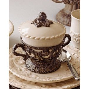 GG Collection Acanthus Covered Soup Bowl With Brown Metal Holder SHOP www.crownjewel.design