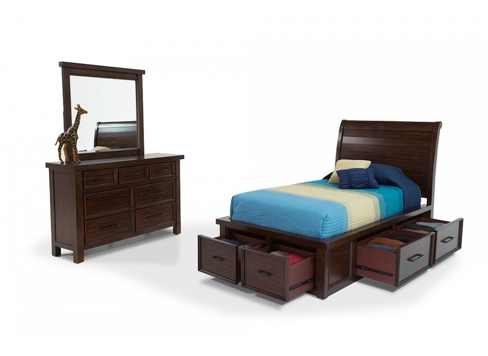 Hudson Youth 6 Piece Twin Sleigh Storage Bed Kids Bedroom Sets