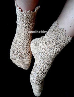 MES FAVORIS TRICOT-CROCHET: Modèle gratuit au crochet : Les chaussettes aux points ajourés