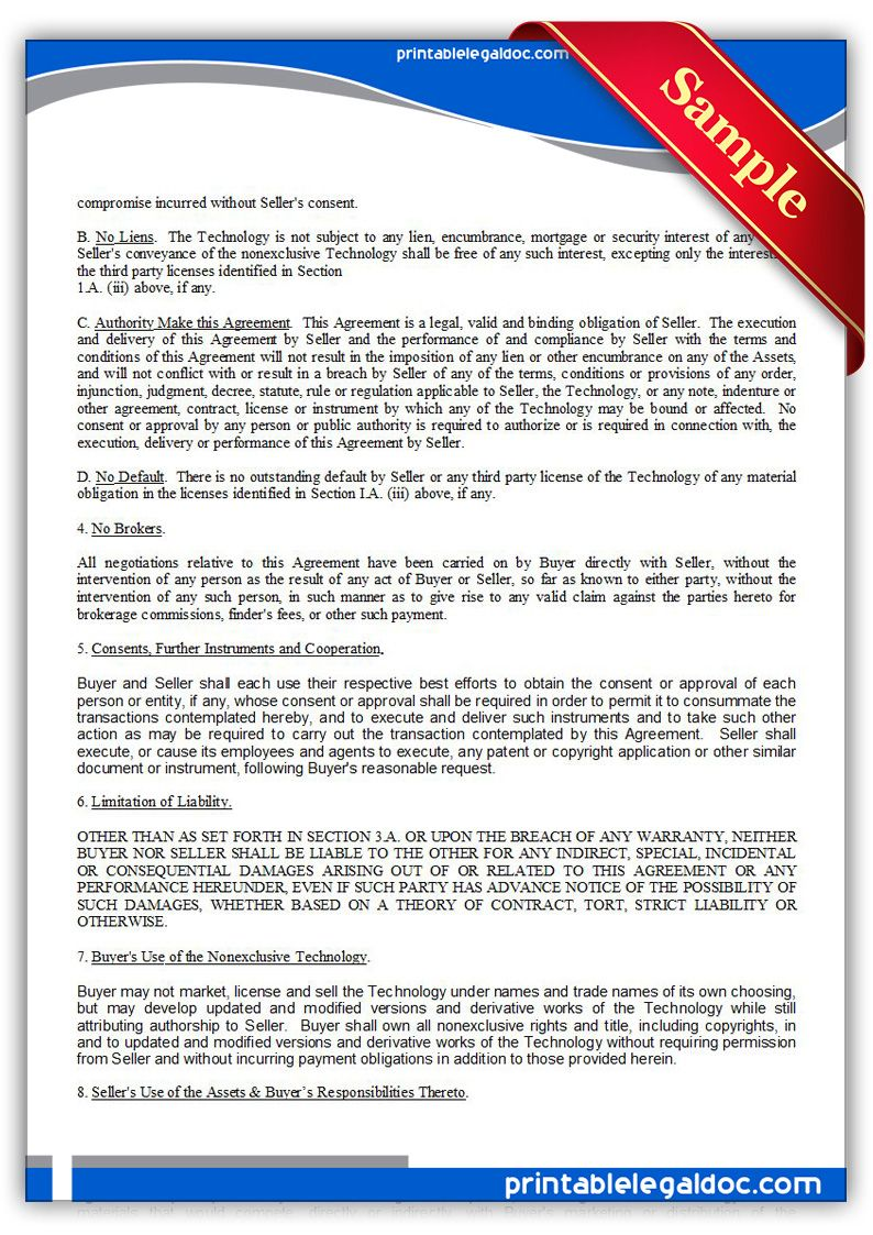 Free Printable Technology Sale Agreement Nonexclusive Legal