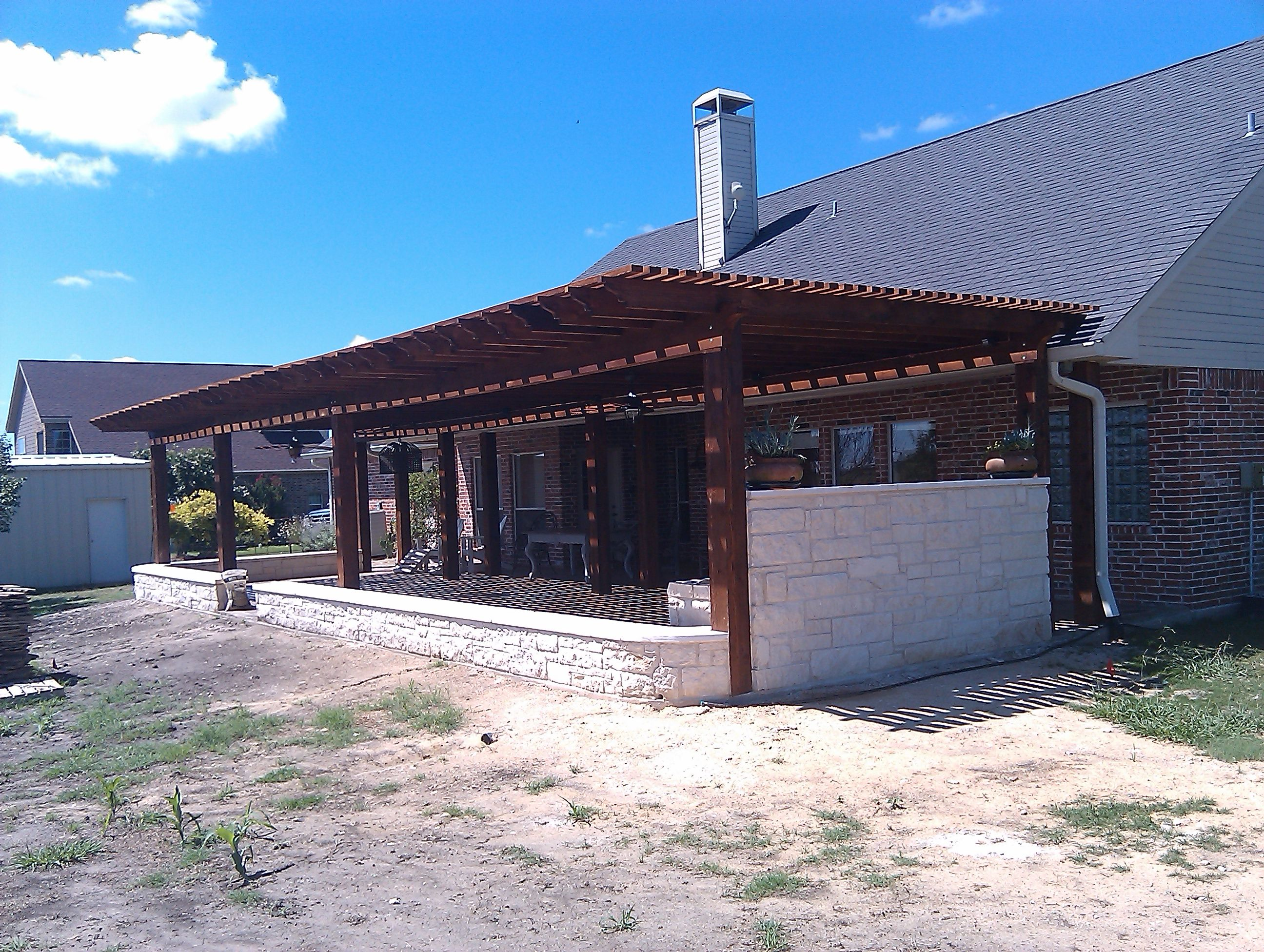 Stand Alone Pergola Designs : Stand alone patio cover built just above the roof line i