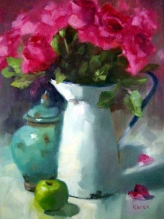 Karen Burns - South African artist  Original Oil on canvas - Roses