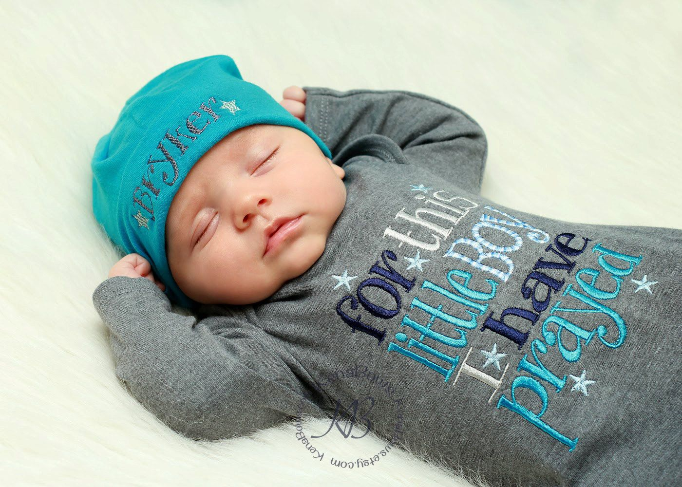 Newborn Baby Gown Grey Infant Boy Gown For This Little by KenaBows, $28.00