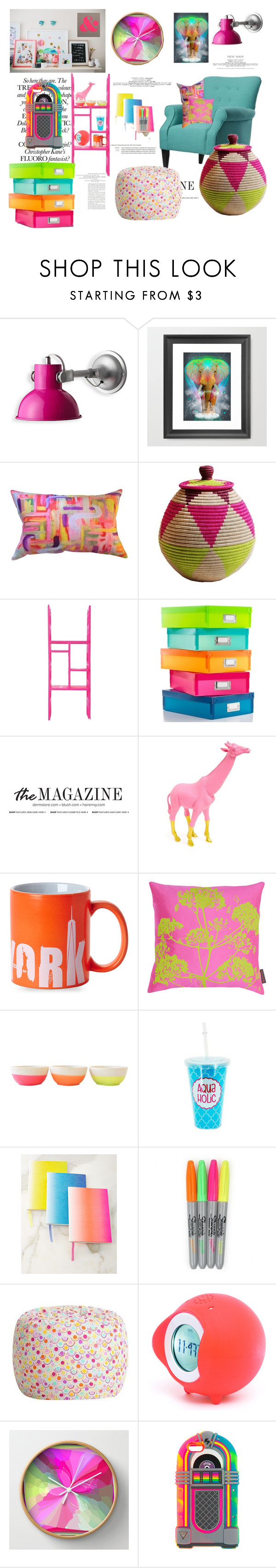 """Neon Elephant"" by pinkymonster ❤ liked on Polyvore featuring interior, interiors, interior design, home, home decor, interior decorating, Indego Africa, Whitmor, Talking Tables and Clarissa Hulse"