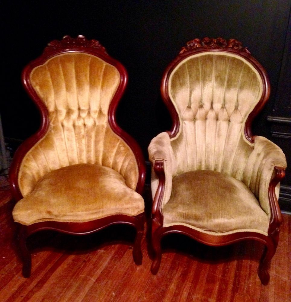 Pair of Mid 1800's Mahogany Carved Victorian Spoon Back King & Queen Chairs  NICE - Pair Of Mid 1800's Mahogany Carved Victorian Spoon Back King & Queen