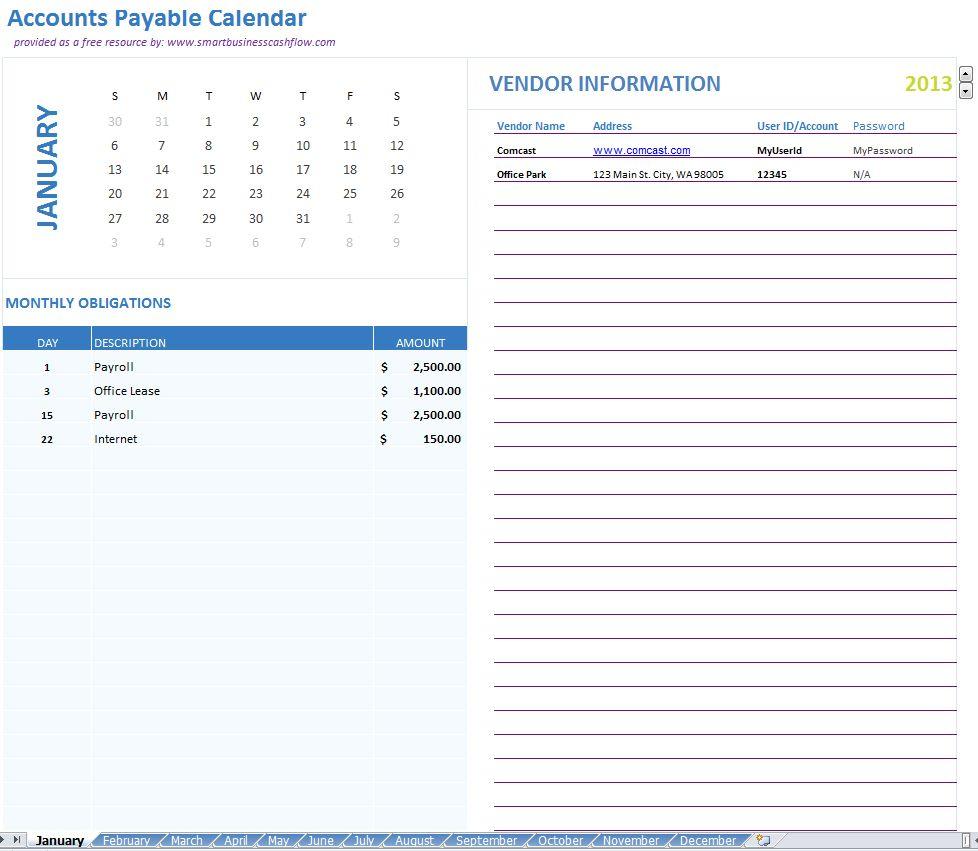 Payable Calendar Template Templates, Calendar, Diagram