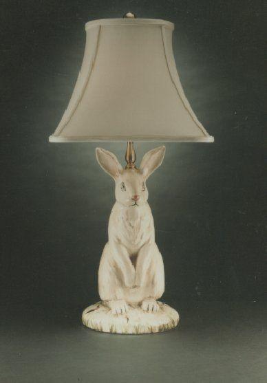 Wildwood Lamps Hand Painted Dignified Rabbit Table Lamp Neenas Lighting Bunny Lamp Rabbit Decor Lamp