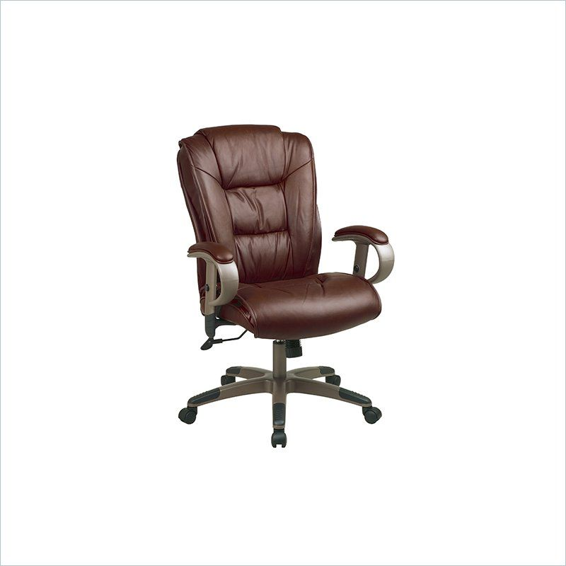 Office Star Executive Leather Chair In Saddle With Cocoa