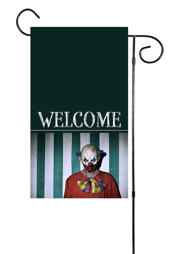 Scary Clown Welcome Halloween Garden Flag Halloween Garden Flag Scary Clowns Garden Flags