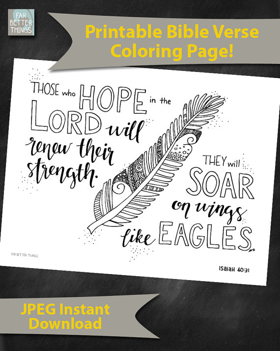 Bible Verse Coloring Page Isaiah 4031 By FarBetterThings0 On Etsy