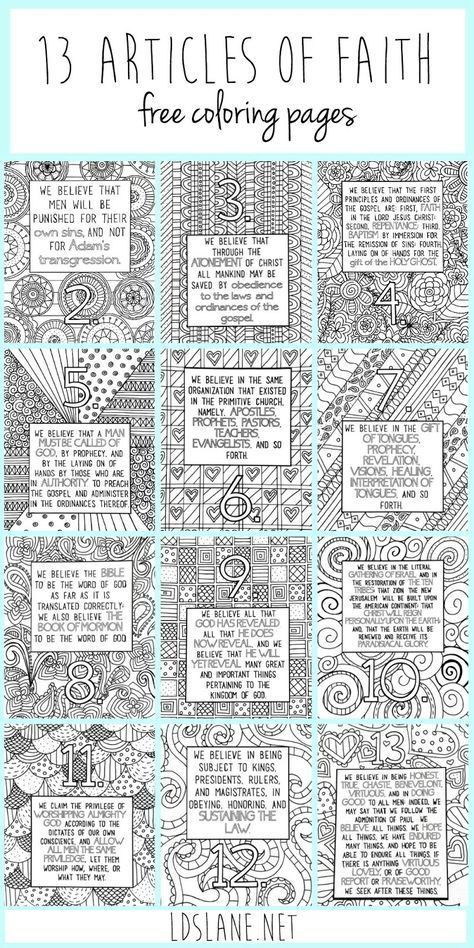 13 Articles of Faith Coloring Pages by LDS Lane | Primaria ...
