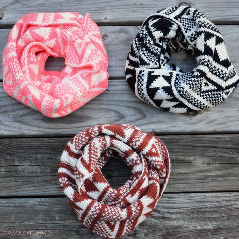 Folklore Mountain Tribal Fair Isle Infinity Scarves | Amazing Lace ...
