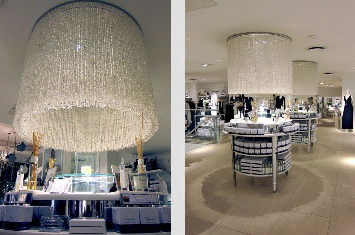 deliciously huge glass chandeliers at The White Company shop Symons Street London by Sarah Feather Design