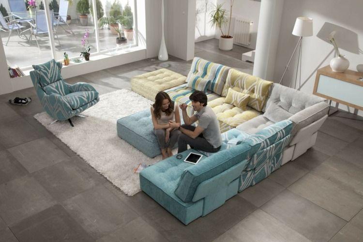 Moderne Wohnlandschaft In Blau Und Gelb For My Home Livingroom