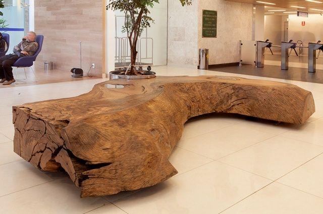 Meubles en bois brut banc original