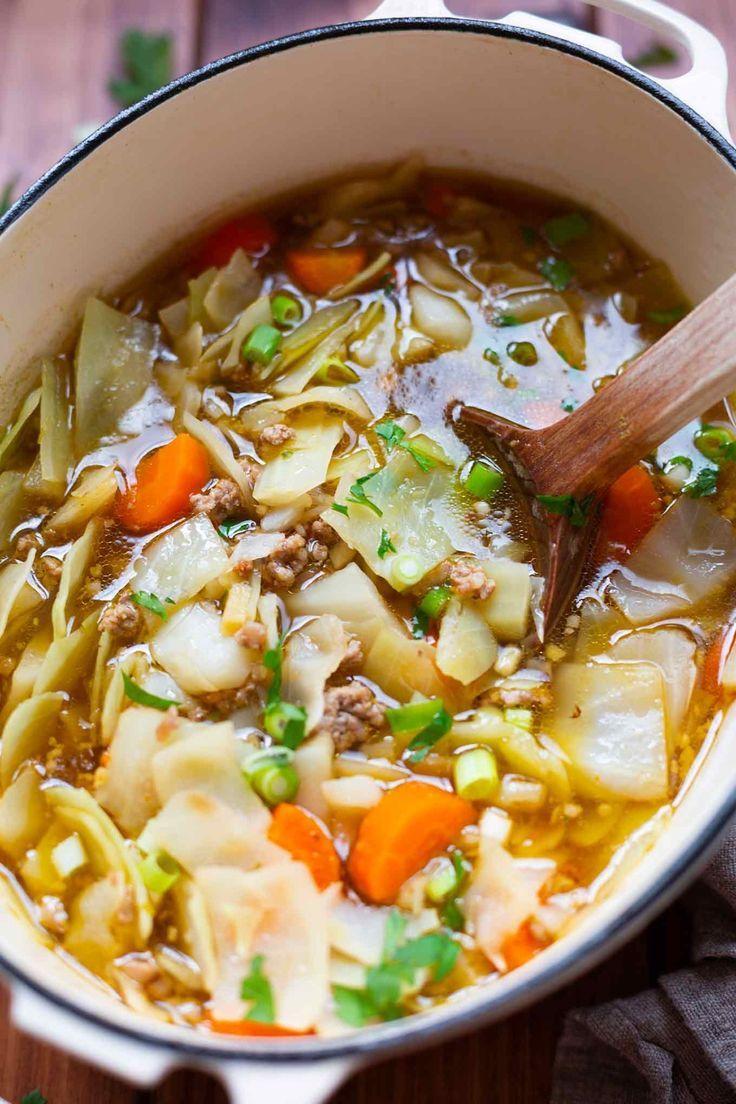 Einfache 30-Minuten Frühlingsrollen-Suppe - Kochkarussell