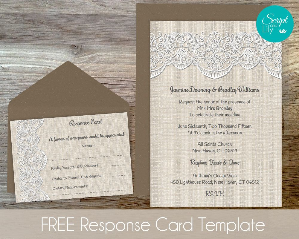 Pages Invitation Templates Free Burlap Lace Invitation Template  Free Response Cards  Wedding .