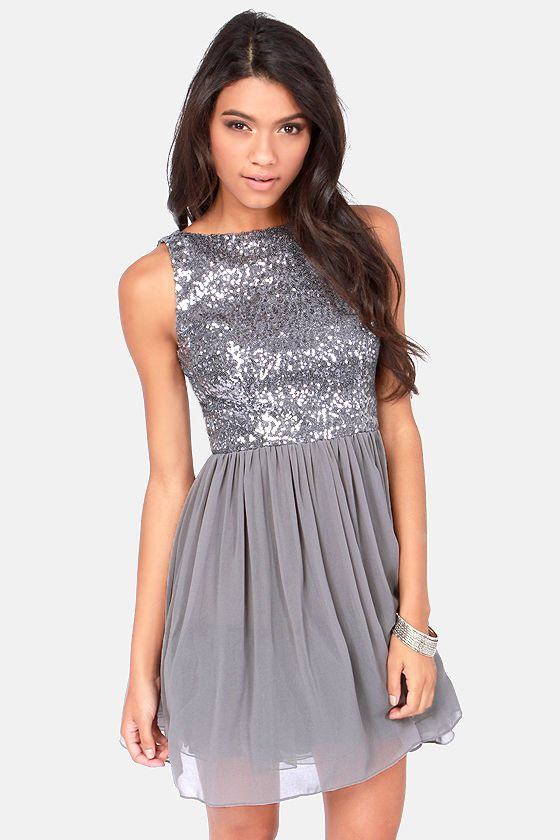 BB Dakota Holly Silver Sequin Dress | 87, Silver sequin and Sequins