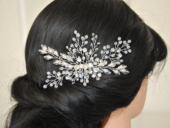 Bridal Hair Comb Clear Crystal Pearl Headpiece Wedding Accessory 00755 Silver