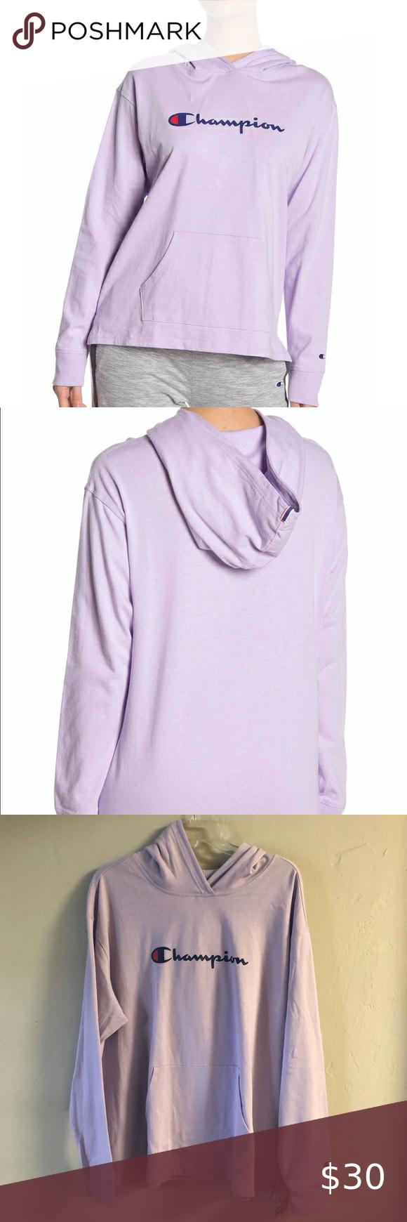 Champion Logo Hoodie Sweatshirt Nwt 2xl Violet Sweatshirts Hoodie Sweatshirts Long Sleeve Tshirt Men [ 1740 x 580 Pixel ]