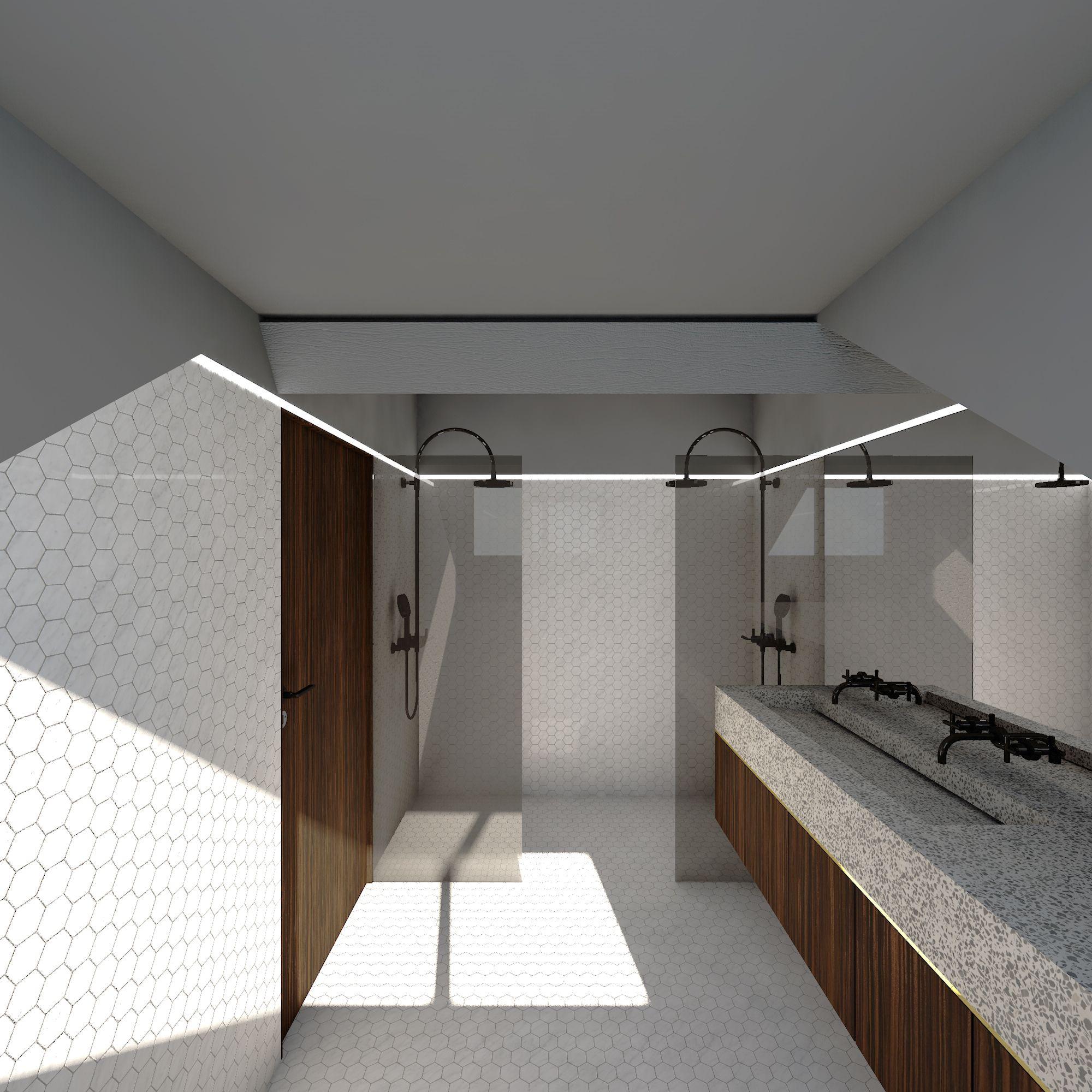 donker grijze badkamer met duo inloopdouche wit marmer hexagonale