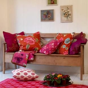 Folk art pillows -- orange,fuchsia and hot pink
