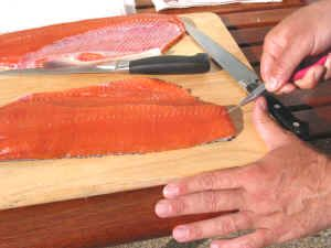 Filleting a salmon