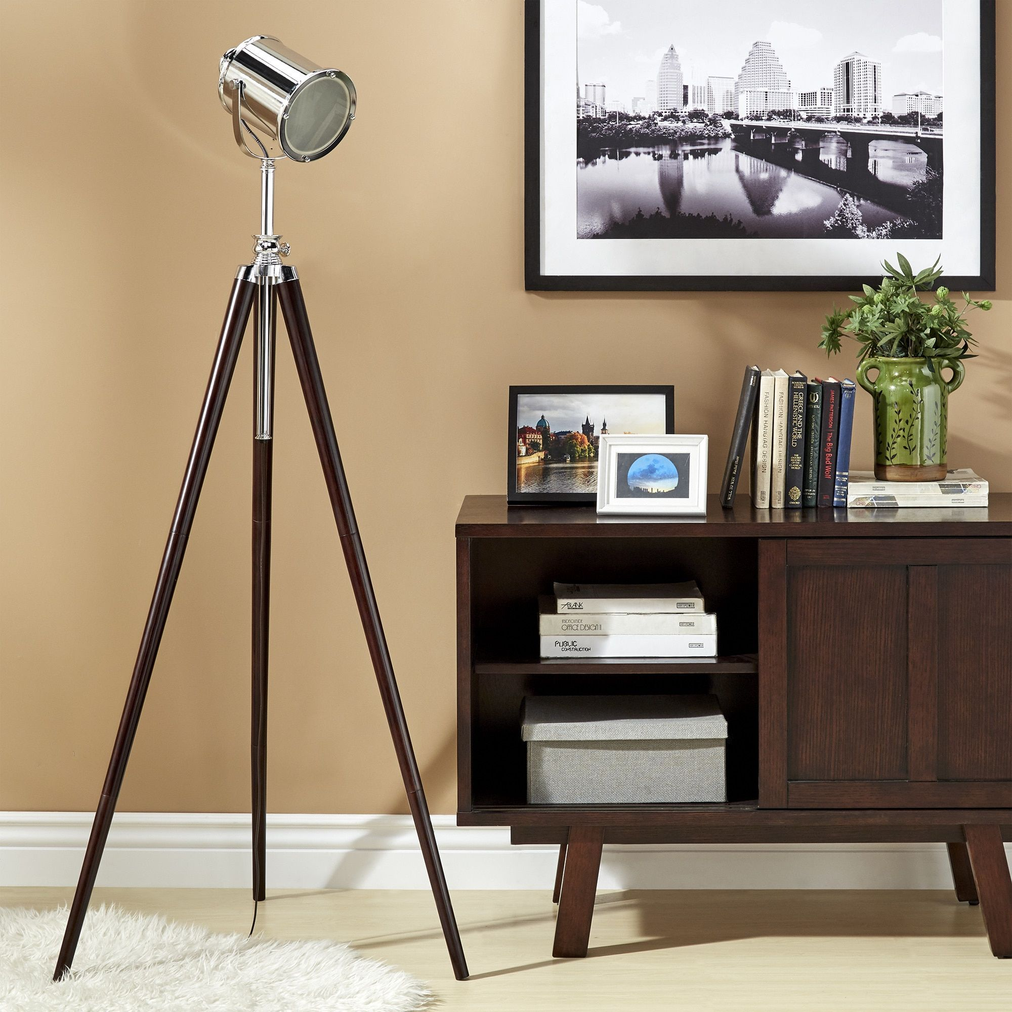 Tripod floor lamp in living room - Baxter Spotlight Tripod Floor Lamp By Mid Century Living