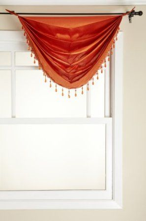 Amazon.com: Stylemaster Tribeca Faux Silk Grommet Waterfall Valance with Beaded Trim, Mandarin, 36 by 37-Inch: Home & Kitchen