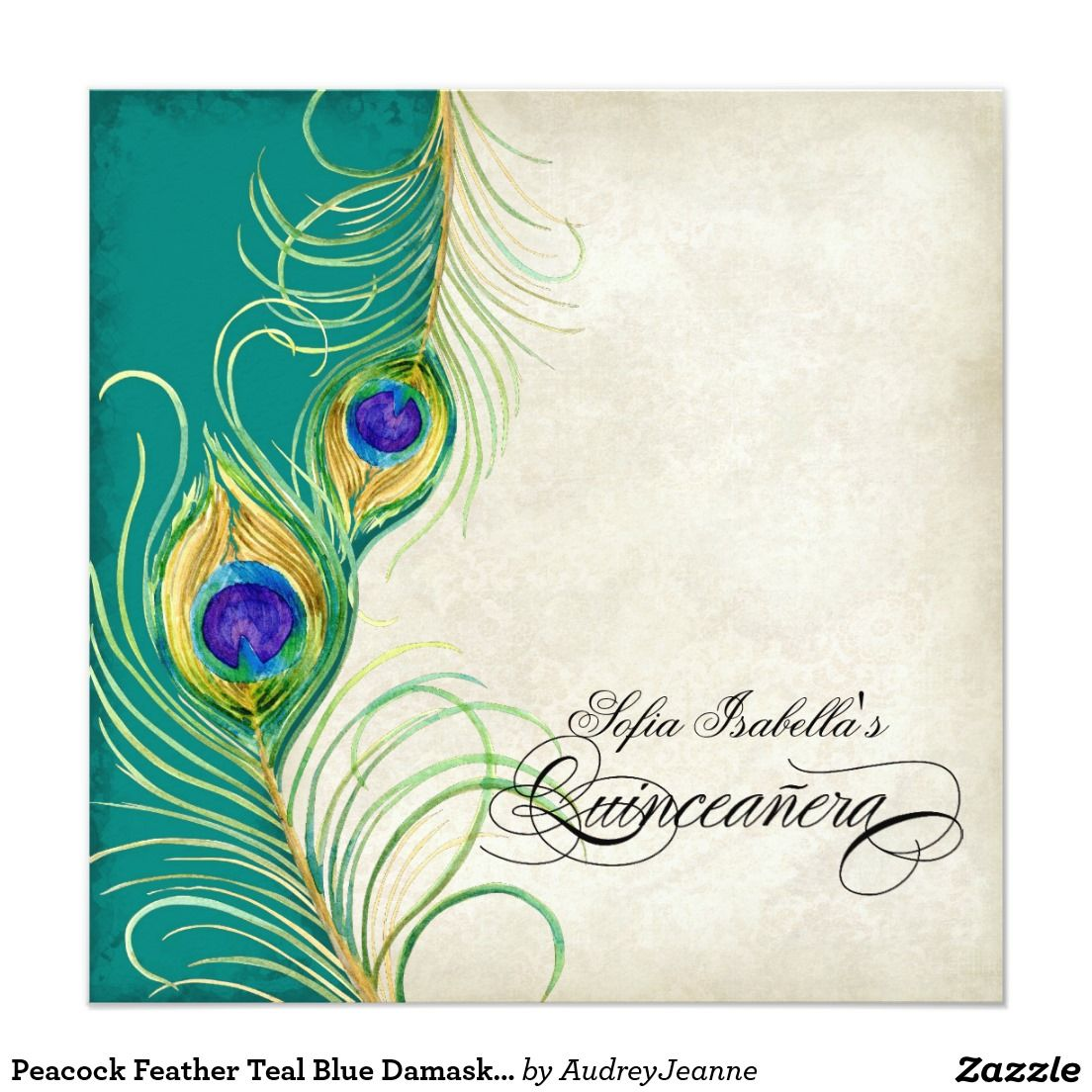 Peacock Feather Teal Blue Damask Quinceanera Party Card ...