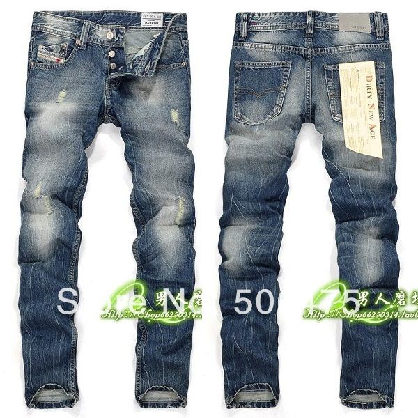 Famous brand men's jeans 2014 spring fashion casual cotton washed cozy Disel jeans skinny straight men's jeans free shipping $47.50