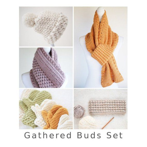 Crochet Pattern Set / Crochet Scarf Pattern, Headband Pattern, Hat ...
